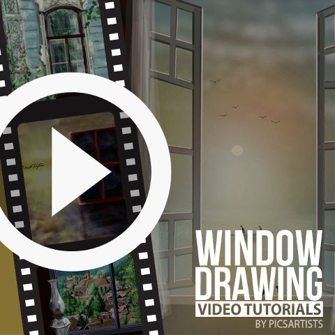window drawing time lapse video