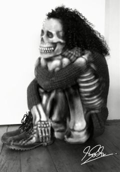 wapdoubleexposure skeleton blackandwhite girl