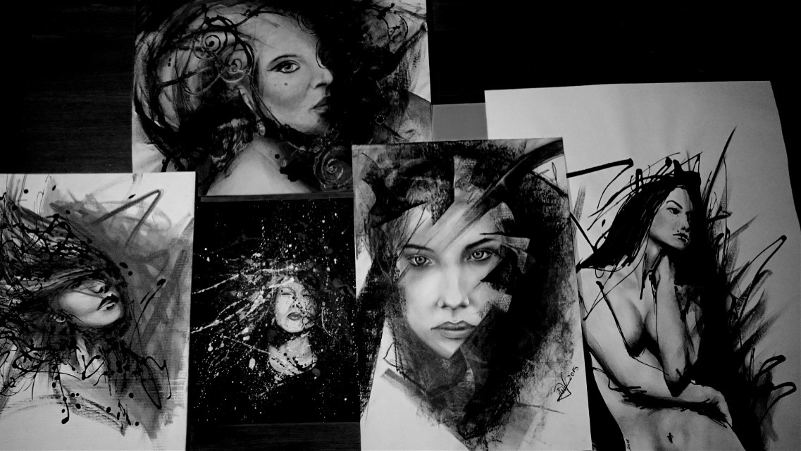 My drawings this year!!  :-) ;-)... Not all of them...:-P... #art #portrait #blackandwhite #artwork #beauty #drawing