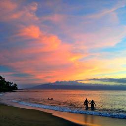 sunset maui silhouette island colorful