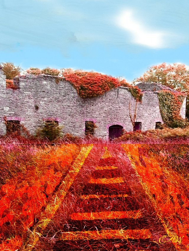 #dcdrawon ANOTHER VERSION OF MY ORIGINAL ENTRY.  STEP BY STEP IN MY GALLERY.  THIS IS A RUIN IN THE REGIONAL PARK BALLINCOLLIG CO CORK IRELAND. .THE ROYAL GUNPOWDER MILLS ..FORGOT TO MENTION THAT WHEN I MOVE IN TO MY NEW ABODE  (ENTRY ) COULD DO WITH A LOT OF HANDYMEN FOR RENOVATIONS ETC. ,LOLLLLLLLL   #colorful   #colorsplash  #freetoedit  #nature  #photography + #art #digital