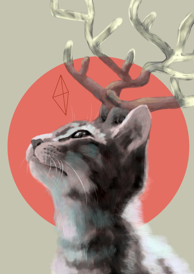 """""""Deer-cat """" An other #drawing for #dchorns just for fun :-)))   Video here : http://youtu.be/SF60V3k02I8 (The model is my cat ,Chipie 🐱) #weird"""