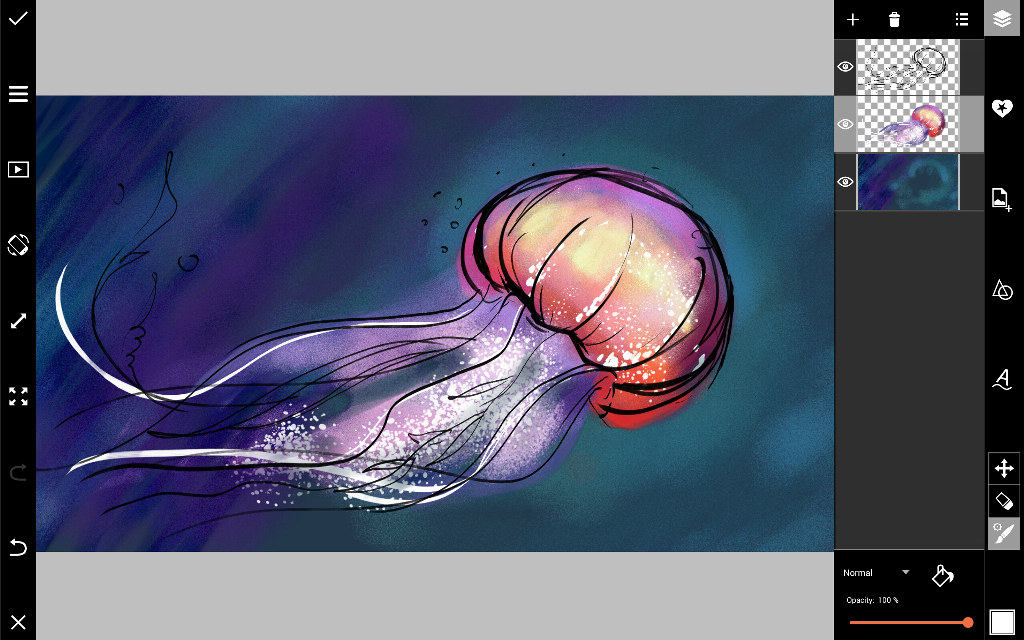 how to draw a jellyfish with PicsArt