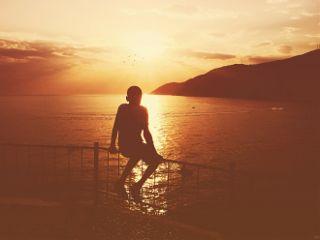 summer sunset silhouette vintage people