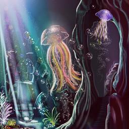 picsart dcjellyfish drawing fantasy digitalpainting