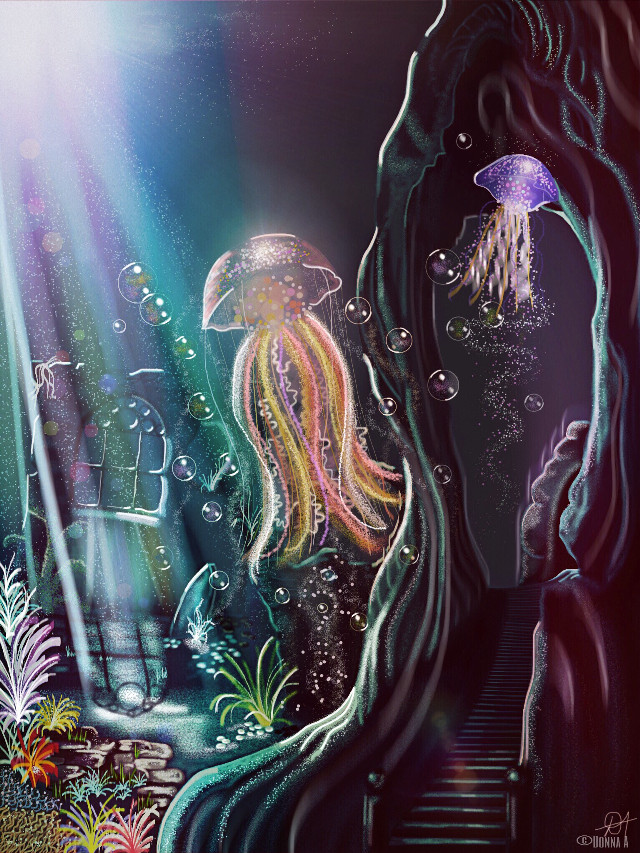 'Under the Sea'. Drawing gif on my gallery. Time lapse video at YouTube. https://youtube.com/watch?v=_jgqac-Clr8 Drawn & Painted in #picsart on Mini IPad. #dcjellyfish #drawing #fantasy #digitalpainting #originalart