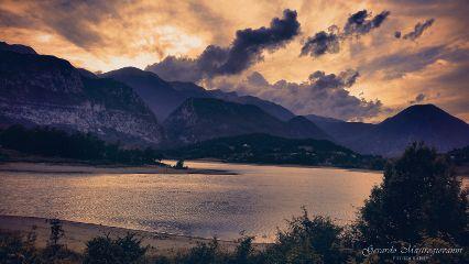 landscape nature sunset hdr lake