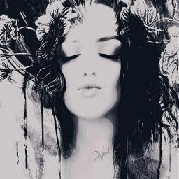 selfportrait beautyful emotion cute myedit blackandwhite vibranteffect curves pencilart doubleexposure flowers photography