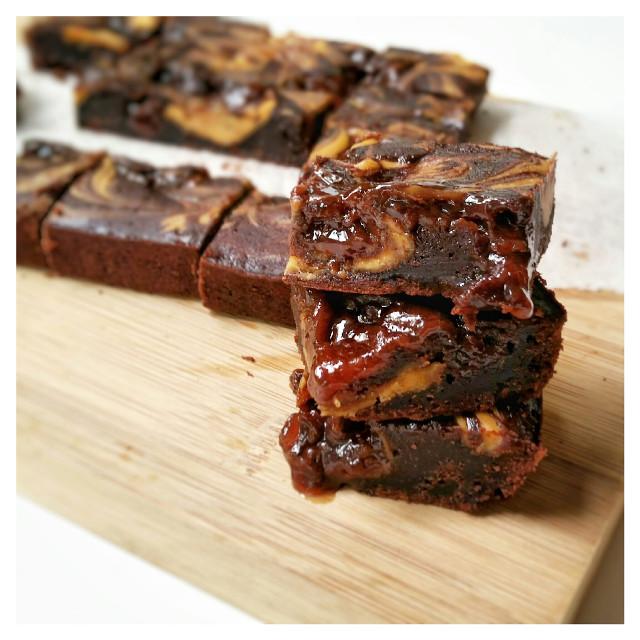 PB&J brownies   #blackandwhite #bokeh #colorful #colorsplash #cute #birthday #food #freetoedit #photography #retro #vintage #chocolate #cake #wedding #spring #summer