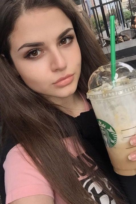 Coffee Starbucks Girl Selfie Moscow Russia Russiangirl Makeup Fashion Casual Model Woman Denim