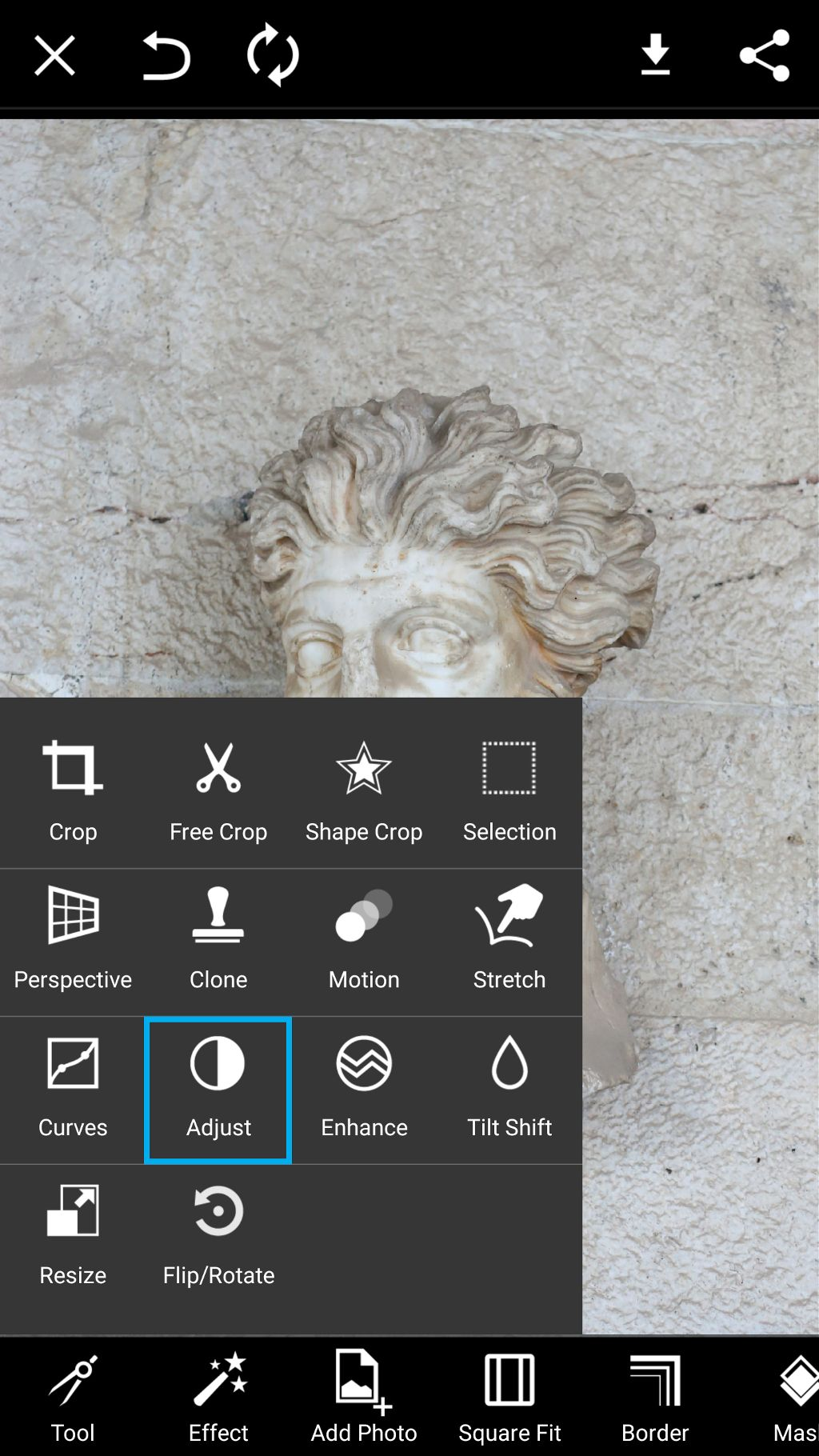 Select adjust from the tools